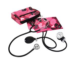 Aneroid Sphygmomanometer / Clinical Lite Stethoscope Kit, Adult, Ribbons and Hearts Pink