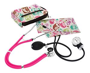 Aneroid Sphygmomanometer / Sprague-Rappaport Stethoscope Kit, Adult, Owls Cream, Print