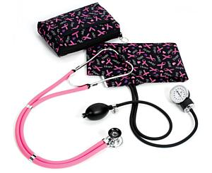Aneroid Sphygmomanometer / Sprague-Rappaport Stethoscope Kit, Adult, Hope Pink Ribbon, Print