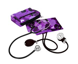 Aneroid Sphygmomanometer / Clinical Lite Stethoscope Kit, Adult, Ribbons and Hearts Purple