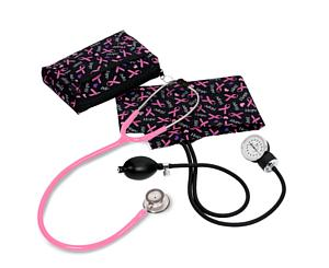 Aneroid Sphygmomanometer / Clinical Lite Stethoscope Kit, Adult, Hope Pink Ribbon, Print