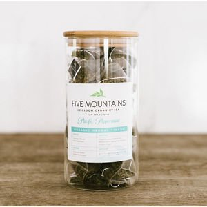 "Tea Sachet Glass Storage with Custom Five Mountains Label (8""x4"")"